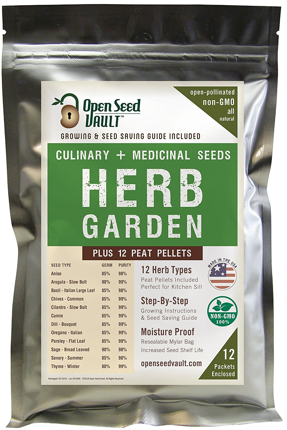 100% NON-GMO Heirloom Culinary and Medical Herb Kit